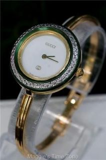 Authentic GUCCI 18K ladies bezel bangle watch