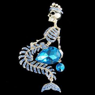 Mermaid Skull Crown Drop Brooch Pin Rhinestone Crystal Blue Halloween