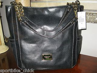 NWT Michael Kors Black Python Delancey Handbag Purse VERY RARE
