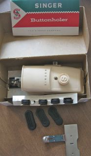 1960 SINGER Sewing Machine Buttonholer Attachment in Box w/ Book & 7