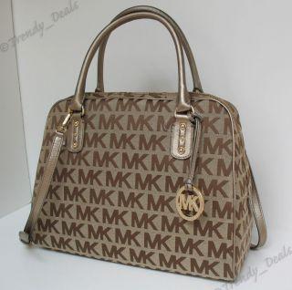 328 NWOT Michael Kors Large Signature Jacquard Satchel Bag Handbag BG