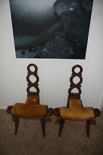 Antique 1900s European Handcarved Primitive Birthing Chair Retro