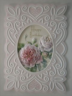 CAROL WILSON HAPPY BIRTHDAY GREETING CARD PINK ROSES WITH LOVE