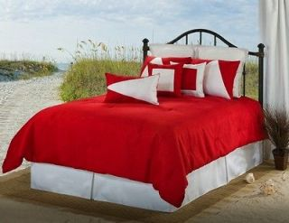 White/Red Solid Color Nautical Style Linen Weave Comforter Set Queen
