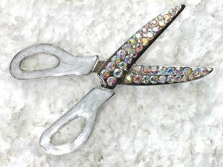 CLEAR AB RHINESTONE CRYSTAL SCISSORS PIN BROOCH C143
