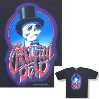 GRATEFUL DEAD TOP HAT SKELETON BLACK T SHIRT LARGE NEW