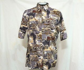 Harley Davidson Motorcycle Bike Hawaiian Aloha Shirt Sz. S