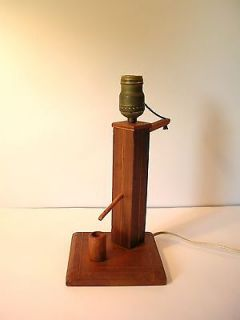 Primitive Hand Made Wood w Detailing Water Pump Light    This Is