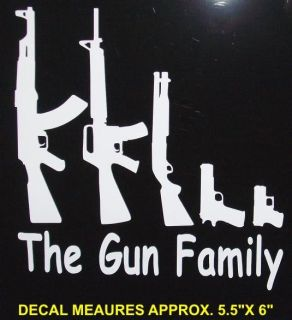 GUN FAMILY DECAL SET , stick figure window kit, funny, ak47, sks, ar15