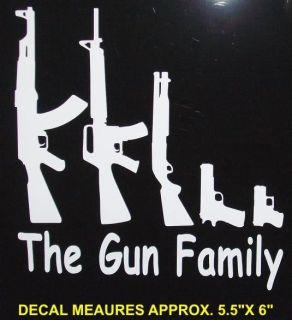 GUN FAMILY DECAL SET , stick figure window kit, funny, ak47, sks, ar15