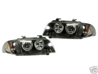 A4 B5 EURO BLACK ANGEL EYES ELLIPSOID HEADLAMPS+CLEAR CORNER LAMPS