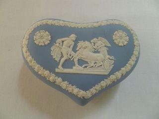 Jasperware Blue Heart Shaped Trinket Box Horse Chariot Flowers