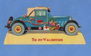 Vintage Valentines Day Card , Antique Coupe