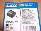 FASCO UNIVERSAL 115 VAC AIR CONDITIONER/HEAT PUMP FAN MOTOR D727 3