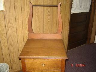 Vintage Oak chest / wash stand with towel rack 18 X 18 X 28 plus rack