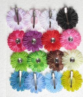 16pcs 2inch small daisy flower baby hair bows clip headband cool 16