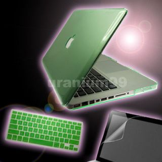 Mac Book Pro Crystal Case GREEN + Keyboard Cover + Screen Protector