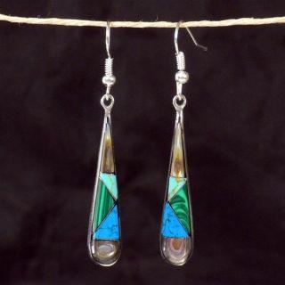 Turquoise/Abalone/Malachite Tear Drop Alpaca Silver Earrings Fair