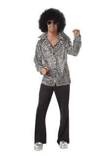 Mens 60s 70s Disco Silver Groovy Hippie Shirt & Afro Wig Costume