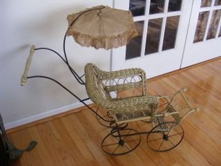 WICKER Baby Doll Buggy Stroller Steel Wheels Parasol Umbrella