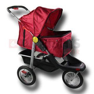 Red Pet Jogger Jogging Dog Cat Stroller Carrier All Terrain 3 Wheel