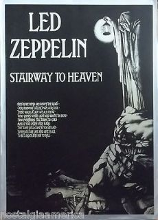 Led Zeppelin 25x35 Stairway To Heaven Black And White Poster W/ Lyrics