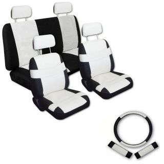 FAUX PU LEATHER CAR SEAT COVERS 11 Piece Set Superior White Black