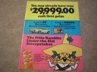 1969 Fritos Corn Chips Large Ad Win Ford Mustang Convertible Car Kodak