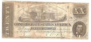 confederate 20 dollar bill in Confederate Currency