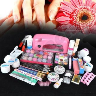 Pink UV Dryer Lamp 30color Acrylic Powder Nail Art Kit Gel Tools Set