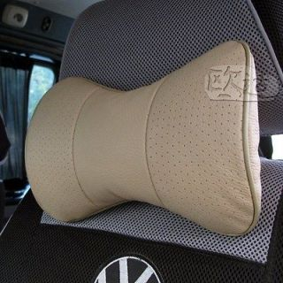 2pc Cow Leather Auto Car Neck Rest Cushion Headrest Pillow Mat Pad