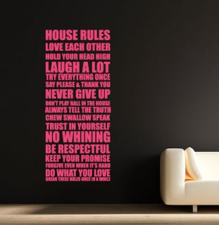 HOUSE RULES V2 QUOTE 2 SIZES WALL STICKER DECAL HOME INTERIOR DESIGN