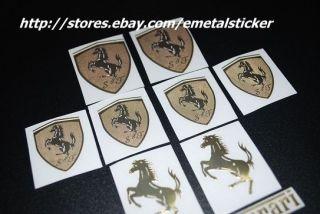 vintage auto car racing metal ferrari decal sticker golden 10 pcs set