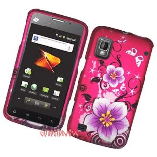 for boost mobile ZTE WARP PINK FLOWER BUTTERFLY PROTECTIVE COVER HARD