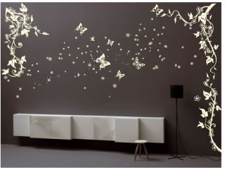 Large Butterfly Flower Tree Wall Stickers / Wall Decals