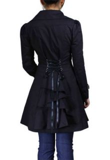 Back Flared Long Black Trench Coat Jacket Victorian Bustle Gothic Goth