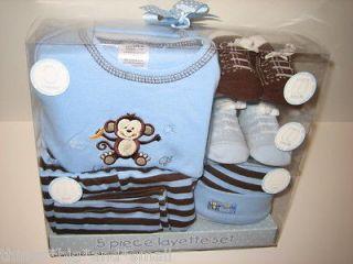 Baby Boy Layette 5 Piece Gift Set Creeper, 2Pair Socks, Cap, Pant