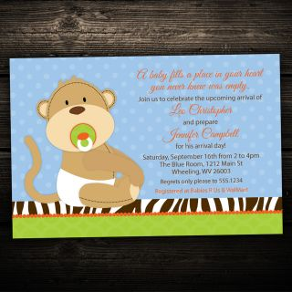Jungle Monkey Baby Birthday or Baby Shower Invitations   Set of 10