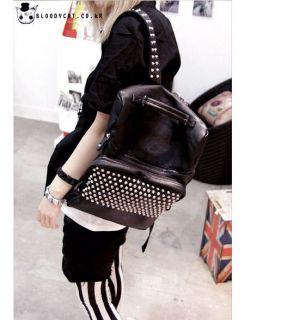 Punk Unisex Bloodycat Black Leather Spike Stud Backpack