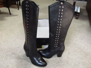New REBA Black Leather Western Boots w/ studs 5.5M $129 RUSTY
