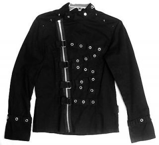 Mens Black Goth Punk Emo Chain Spikes Psycho Marching Band Jacket M