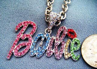 Barbie Multi Color Rhinestone Silvertone Necklace Nicki Minaj Inspired