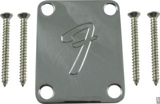 Fender Precision / Jazz Bass 70s Neck plate chrome 4 bolt F style L