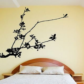 PRETTY TREE BRANCH WALL STICKER VINYL DECAL WITH FLOWERS LEAVES