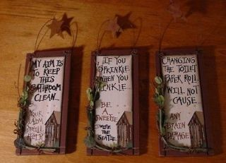 NEW Country Primitive Wood OUTHOUSE Bathroom Home Decor Signs SO CUTE