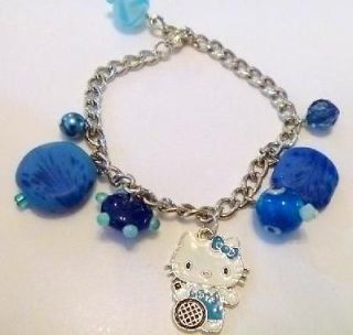 Handcrafted Hello Kitty Tennis Player Blue Beaded Charm Bracelet