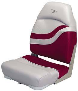 High Back Fold Down Fishing Boat Chair   Red / Grey Seat bass gray
