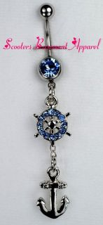 Nautical Wheel and Anchor Dangle Belly Ring Bar Blue CZ Boat Navel