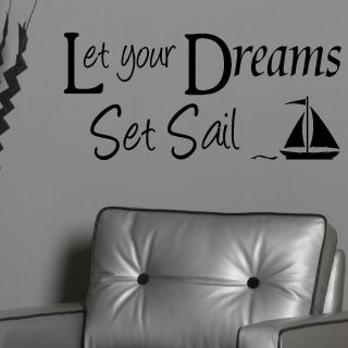 DREAMS SET SAIL GIANT WALL STICKER GRAPHIC DECAL MATT VINYL BEDROOM