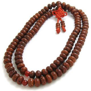 108 9X7mm Old Star Moon Bodhi Seeds Prayer Beads Mala Necklace  27